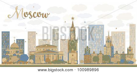 Moscow City Skyline in blue and brown color. Vector illustration