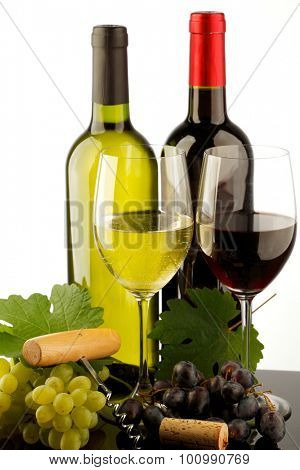 two bottle of red and white wine