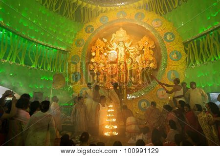Priest Praying To Goddess Durga, Durga Puja Festival, Kolkata, India