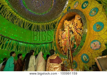 People Enjoying Inside Durga Puja Pandal, Durga Puja Festival