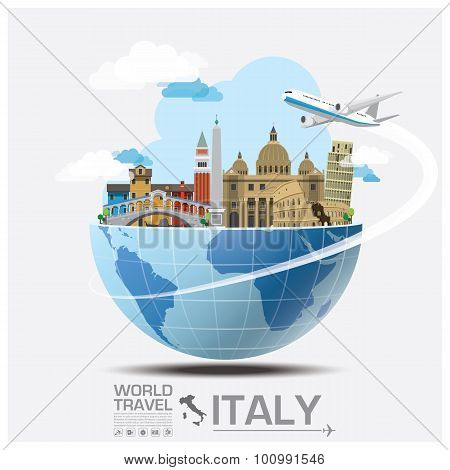 Italy Landmark Global Travel And Journey Infographic
