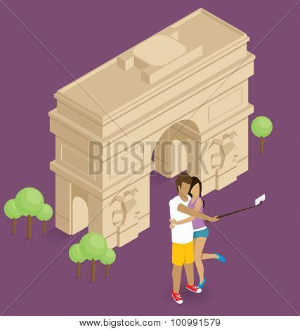Vector flat isometric couple making selfie near the triumphal arch in Paris
