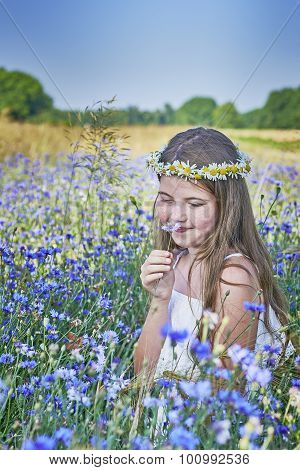 Young Girl And Flowers