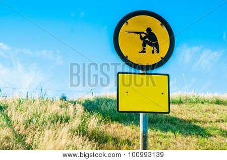Shooting Range Sign In Yellow