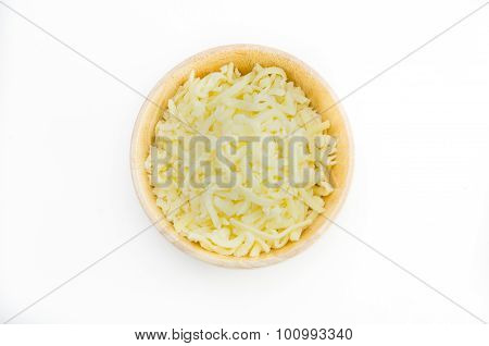 Grated Cheese In A Wooden Bowl