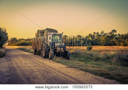 Old Tractor With Hay Bales