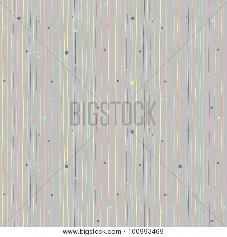 Abstract background. Wavy lines and circles. Seamless pattern.