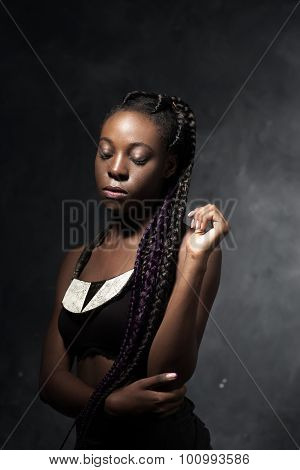 African Woman With Very Long Braids