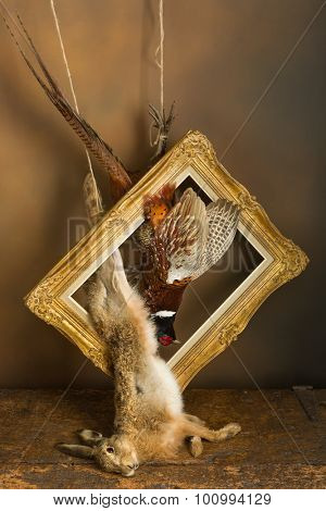 Antique old master hunting still life with pheasant and hare