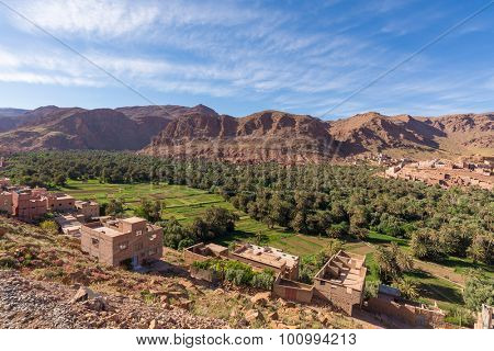 Africa, Morocco-Tinghir city - view to a palm grove oasis