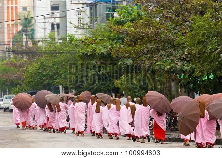 MANDALAY,MYANMAR,JANUARY 17, 2015 : A row of young Buddhist nuns is walking in the streets of Mandalay, Myanmar (Burma).