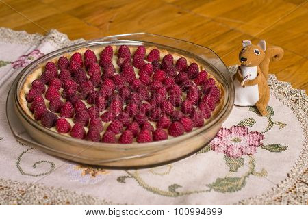 Raspberry cake and squirrel