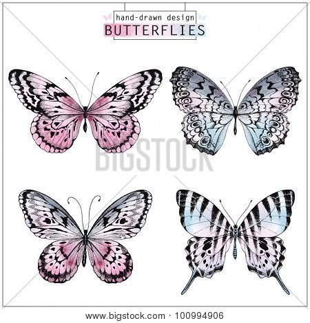 Collection of hand-drawn butterflies silhouette with watercolor pink and blue texture, vector illustration.