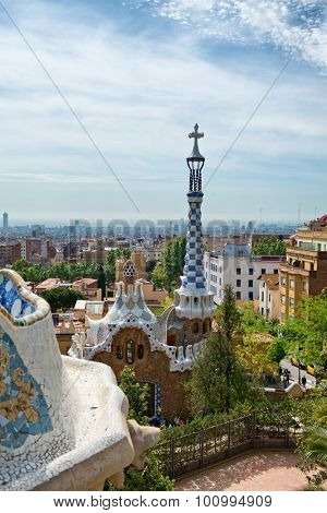 BARCELONA, SPAIN - MAY 02: Overview of Parc Guell, Barcelona, Spain from the main terrace showing the architecture designed by Gaudi, now a popular public garden and tourist attraction. May 02, 2015
