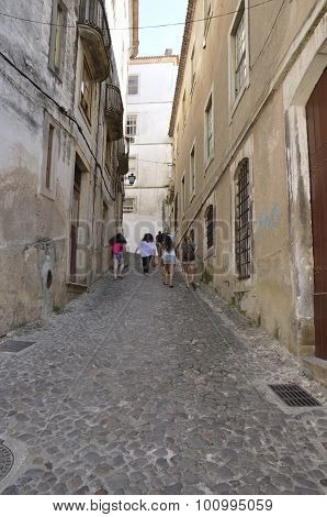 Steep Cobble Street  In Coimbra