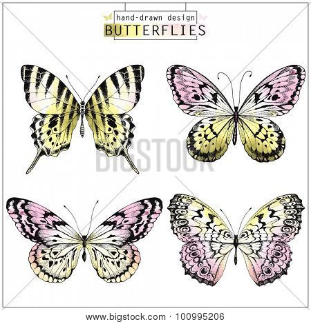 Collection of hand-drawn butterflies silhouette with watercolor pink and yellow texture, vector illustration.