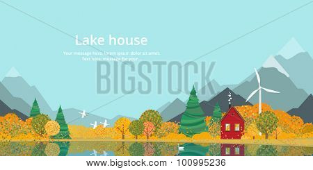 Autumn, the house on the lake in the mountains