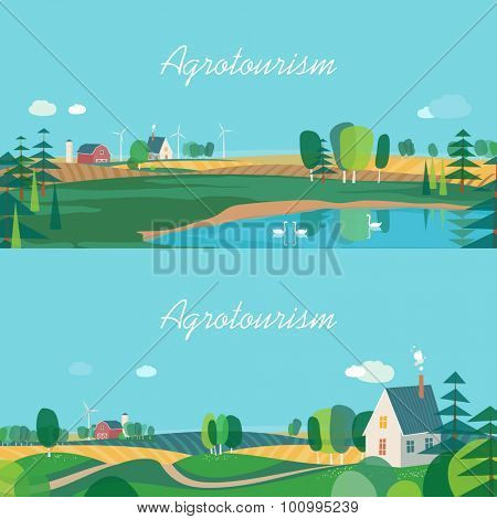 Set of horizontal banners, agro-tourism, agricultural development