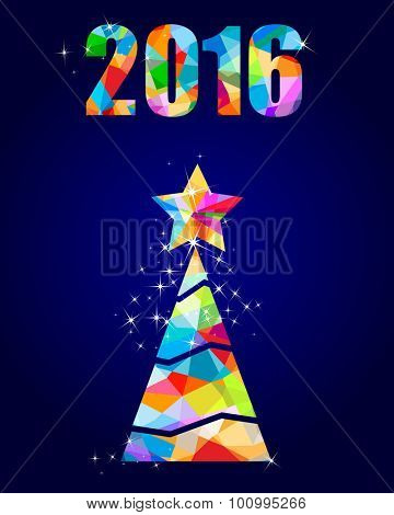 2016 colorful christmas tree triangular design