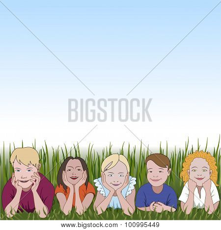 Five Young Children Leaning On They Elbows On Grass And Space For Text Above