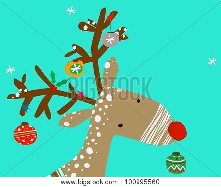 christmas reindeer with decoration