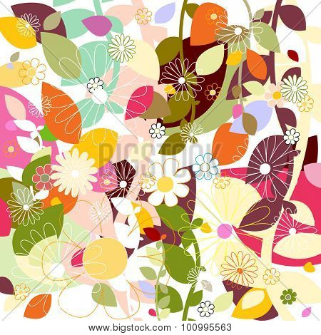 simple leaf and flowers pattern