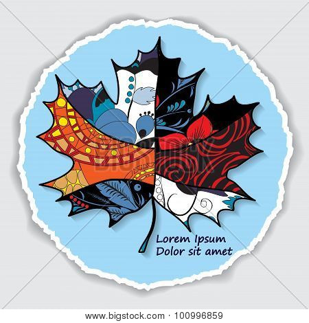 Greeting Card. Poster, Brochure Template With Maple Leaf. Vector Cirlcular  Frame. Torn Paper. Patch