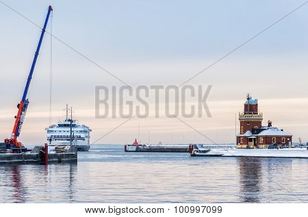 Helsingborg Lighthouse And Ferry
