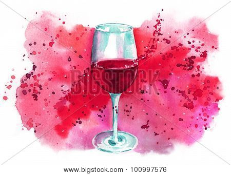 Watercolor glass of red wine with bright banner with place for text