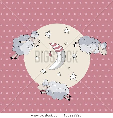 Sleeping Cute Sheep With Moon