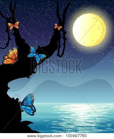 Silhouette nature scene on fullmoon night illustration
