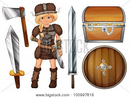 Female viking with weapons and chest illustration