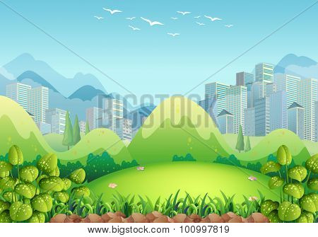 Nature scene with buildings in the background illustration