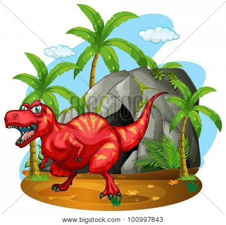 Dinosaur standing in front of the cave illustration
