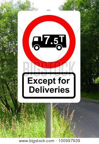 Road traffic order sign No HGV vehicles