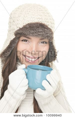 Winter Smiling Woman Drinking Tea