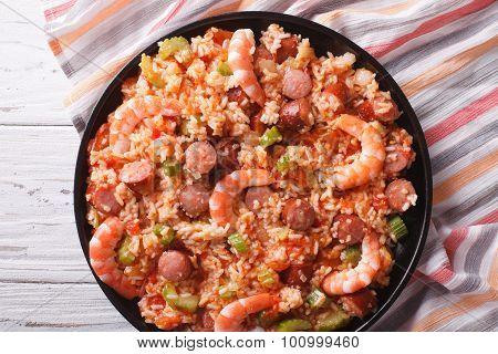 Creole Jambalaya With Shrimp And Sausage Close-up. Horizontal Top View