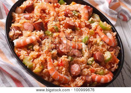 Creole Food: Jambalaya With Shrimp And Sausage Close-up. Horizontal