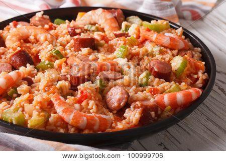 Creole Food: Jambalaya Close-up On A Plate. Horizontal
