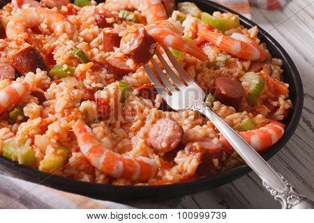 Creole Jambalaya Close-up On The Table. Horizontal