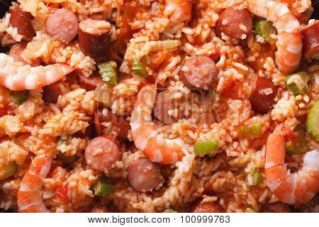 Creole Food: Macro Jambalaya. Horizontal Top View Background