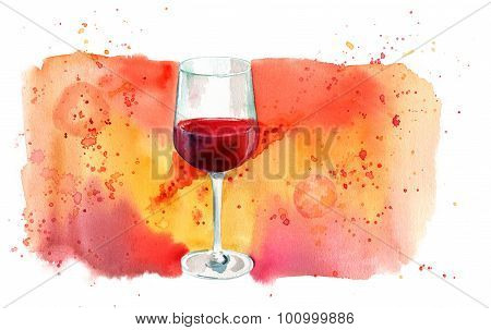 Watercolor glass of red wine with bright banner with a place for text