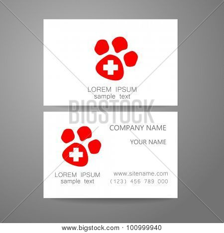 Veterinary - template logo. The idea of the logo for the veterinary service, pharmacy, hospital, center care, shelter animals. Branded business card.