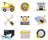 pic of wreckers  - Set of the car repair and maintenance related icons - JPG