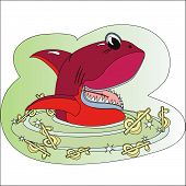stock photo of loan-shark  - Red shark in the sea of the dollars - JPG