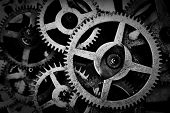 Grunge gear, cog wheels black and white background. Concept of industrial, science, clockwork, techn poster