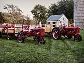 stock photo of hayride  - Two tractors waiting to take kids on a hayride - JPG