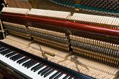 pic of tuning fork  - Piano with remove the front cover in the process of adjustment - JPG