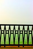 foto of driftwood fence  - the beautiful forged fence against the sea - JPG