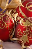 picture of christmas party  - red christmas tree decoration - JPG